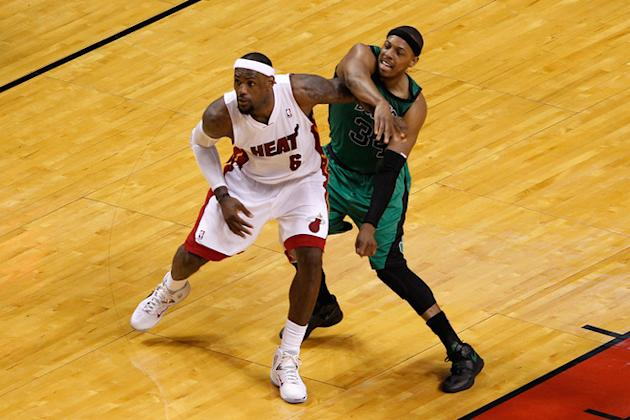 LeBron James #6 Of The Miami Heat Fights Getty Images