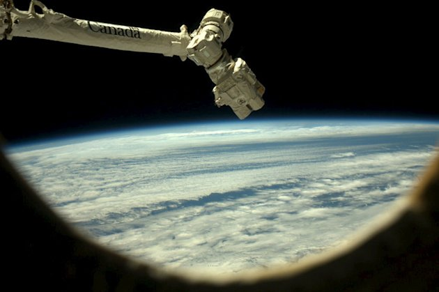 The Canadarm2 is pictured in this handout photo taken by Canadian astronaut Chris Hadfield. (Reuters)