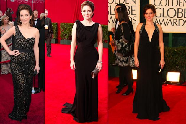 Tina Fey's black gowns