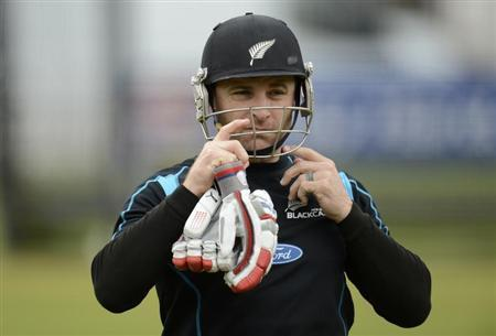 New Zealand's captain McCullum looks on during a training session in London