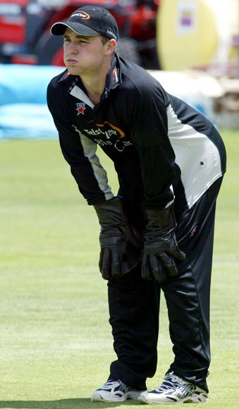 New Zealands Brendon McCullum at practice ahead of