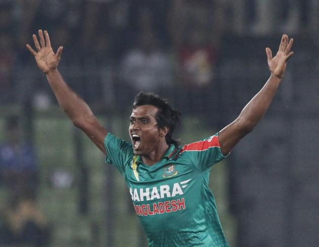 Bangladesh's Rubel Hossain celebrates as he dismissed New Zealand's Corey Anderson successfully during their first one-day international (ODI) cricket match in Dhaka