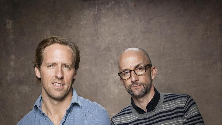 "FILE - In this Jan. 22, 2013 photo, Nat Faxon, left, and Jim Rash from the film ""The Way Way Back"" pose for a portrait during the 2013 Sundance Film Festival at the Fender Music Lodge, in Park City, Utah. (Photo by Victoria Will/Invision/AP Images, File)"