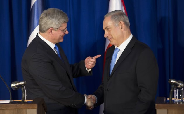 Harper and Netanyahu during their joint news conference in Jerusalem January 21, 2014. (Reuters)