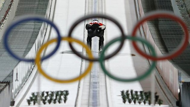 Severin Freund of Germany speeds down the jump during the training of the large hill ski jumping event at the Sochi 2014 Winter Olympic Games, at the RusSki Gorki Ski Jumping Center in Rosa Khutor, February 12, 2014 (Reuters)