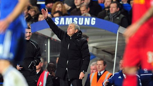 Jose Mourinho gestures during Chelsea's 2-1 win over Liverpool (AFP)