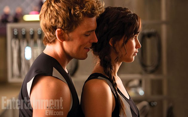 Claflin, left, and Lawrence in 'Catching Fire'
