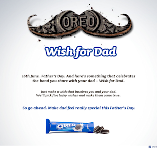 9 Cool Fathers Day Facebook Campaigns 2013 image Oreo Wish for Dad