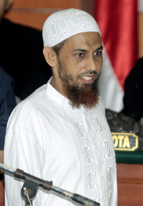 FILE - In this Feb. 13, 2012 file photo, Umar Patek, an Indonesian militant charged in the 2002 Bali terrorist attacks, arrives to his trial in Jakarta, Indonesia.  The top Indonesian terror suspect c