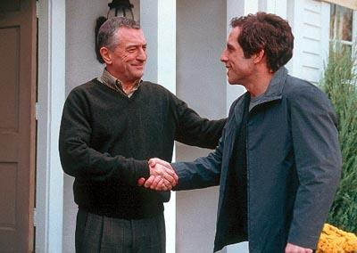 Jack Byrnes ( Robert De Niro ) meets Greg Focker ( Ben Stiller ) in Universal's Meet The Parents
