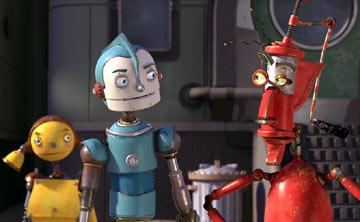 Rodney Copperbottom (voiced by Ewan McGregor ) and Fender (voiced by Robin Williams ) in 20th Century Fox's Robots