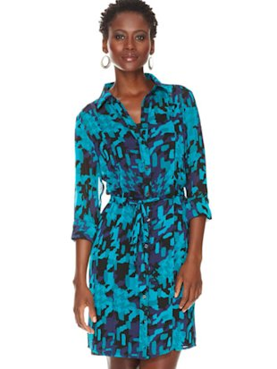 Sheer printed shirtdress