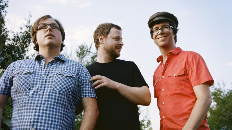 "This publicity image released by Sony shows members of Ben Folds Five, from left, Robert Sledge, Darren Jessee and Ben Folds. The band's latest album, ""The Sound Of The Life Of The Mind,"" was released on Tuesday, Sept. 18, 2012. (AP Photo/Sony, Autumn de Wilde)"