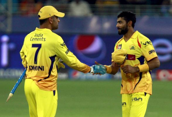Chennai Super Kings captain MS Dhoni and Ravindra Jadeja during the 10th match of IPL 2014 between Rajasthan Royals and Chennai Super Kings, played at Dubai International Cricket Stadium in Dubai of U