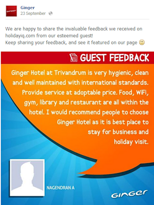 Social Media Strategy Review: Hospitality Industry image Ginger Hotel Customer Feedback