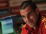 Spanish striker Alvaro Negredo smiles during a press conference in Schruns on May 24. Negredo edged Roberto Soldado for the final striker's spot in defending champions Spain's squad for Euro 2012 that was announced by coach Vicent del Bosque