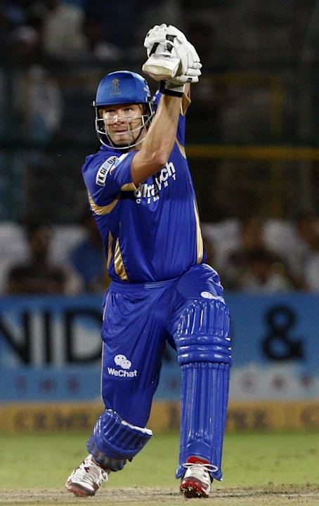 Rajasthan Royals batsman Shane Watson in action during CLT20 match between Rajasthan Royals and Otago Volts at Sawai Mansingh Stadium in Jaipur on Oct. 1, 2013. (Photo: IANS)