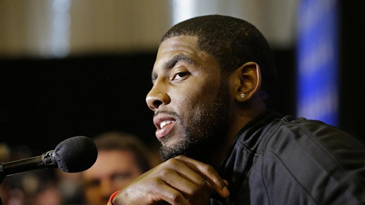 Cleveland Cavaliers' Kyrie Irving speaks during the NBA All Star basketball news conference, Friday, Feb. 14, 2014, in New Orleans. The 63rd annual NBA All Star game will be played Sunday in New Orleans