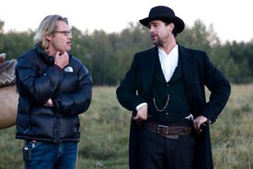 Director Andrew Dominik and Brad Pitt on the set of Warner Bros. Pictures' The Assassination of Jesse James by the Coward Robert Ford