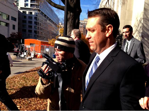 "This photo taken with a cellphone shows Rep. Henry ""Trey"" Radel, R-Fla. leaving court in Washington, Wednesday, Nov. 20, 2013, leaving court after pleading guilty to a misdemeanor charge of cocaine po"