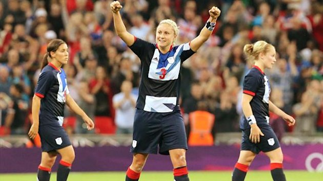 Team GB's Steph Houghton celebrates goal against Brazil