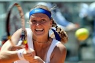 Petra Kvitova of Czech Republic, pictured in May 2012, has beaten Slovakia's Daniela Hantuchova in straight sets to progress to the second round of the China Open in Beijing