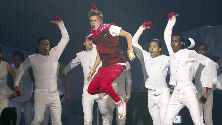 Justin Bieber performs during the 2012 Much Music Video Awards in Toronto on Sunday, June 17, 2012. (AP Photo/The Canadian Press, Chris Young)