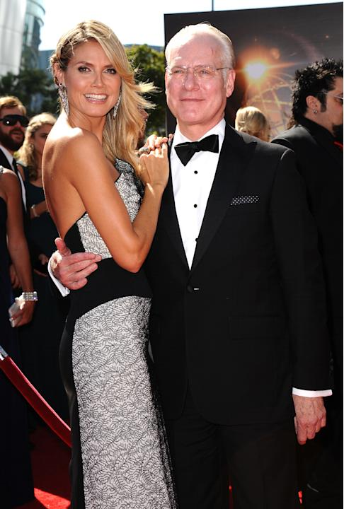 From left, Heidi Klum and Tim Gunn arrive at the 2013 Primetime Creative Arts Emmy Awards, on Sunday, September 15, 2013 at Nokia Theatre L.A. Live, in Los Angeles, Calif. (Photo by Scott Kirkland/Inv