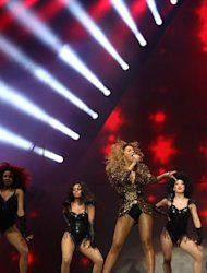 Beyonce performs during the last day of the Glastonbury Festival