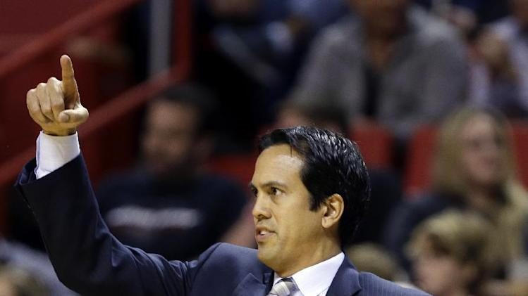 Miami Heat head coach Erik Spoelstra gestures during the first half of an NBA basketball game against the Boston Celtics, Saturday, Nov. 9, 2013, in Miami. The Celtics won 111-110