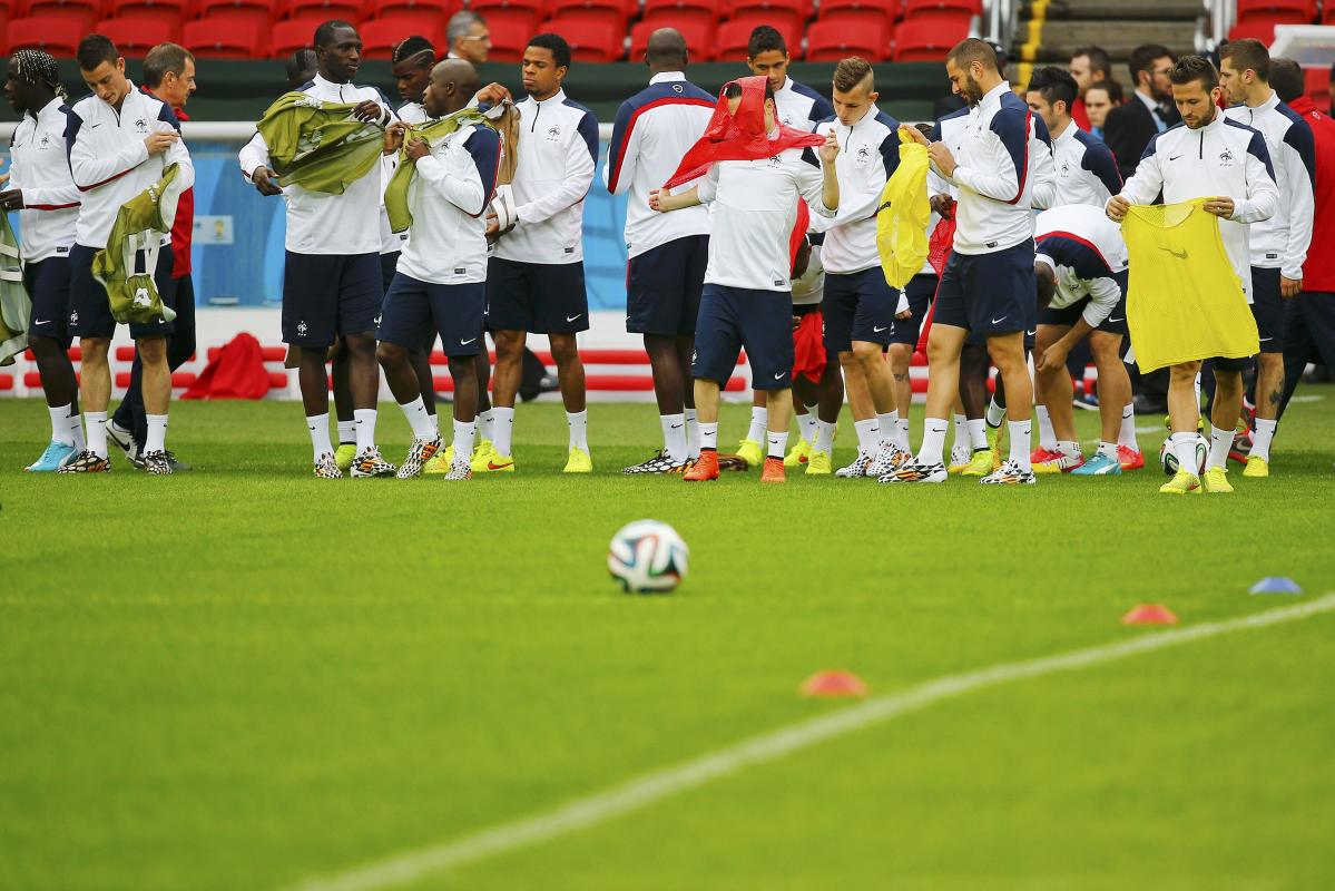 France's national soccer team players arrive for their team's final practice at the Beira-Rio stadium in Porto Alegre