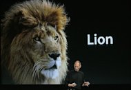 Apple CEO Steve Jobs announces the OSX Lion operating system at the company's headquarters in Cupertino, California 2010. Apple on Wednesday unleashed its new Lion operating system, running it on updated, more powerful versions of its MacBook Air ultra-thin laptop