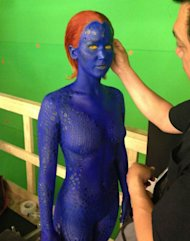 Lawrence... deep in make-up on the X-Men set (Copyright: Twitter)