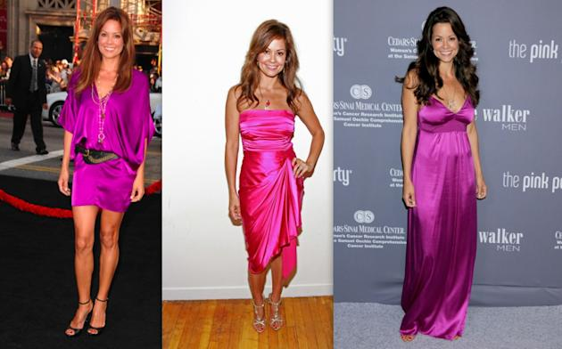 Brooke Burke's shiny pink dresses