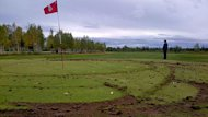 Vandals driving an ATV damaged this green at the Amaruk Golf Club in Happy Valley-Goose Bay.