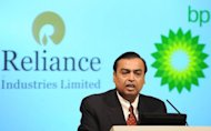 Chairman and Managing Director of Reliance Industries Limited Mukesh Ambani, pictured in 2011. India's largest private firm, Reliance Industries, on Friday reported a drop in quarterly net profit -- its third straight fall -- hurt by declining gas output from its offshore fields