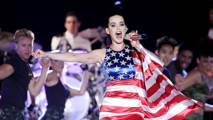 FILE - In this May 23, 2012 file photo released by Starpix, singer Katy Perry wears a patriotic dress as she performs at a Pepsi-sponsored event at Brooklyn Pier 9A, kicking off  Fleet Week in New York. Perry's