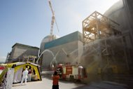 A safety drill at the Gori nuclear power plant. South Korea's Nuclear Safety and Security Commission said it had shut down two reactors -- one at the Gori nuclear complex and another at the Wolseong plant -- after learning that both had used parts supplied with forged warranties