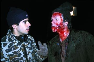 Director Eli Roth and Arie Verveen on the set of Lions Gate's Cabin Fever
