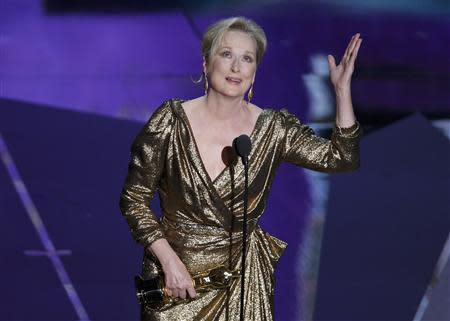 Actress Meryl Streep accepts the Oscar for Best Actress for her role in