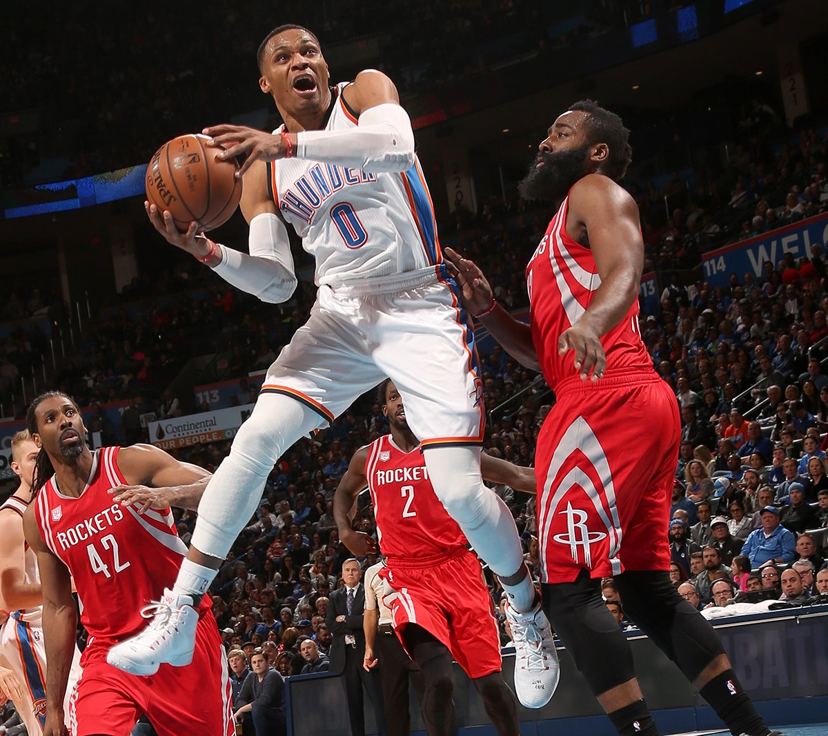 Russell Westbrook and James Harden have both elevated their games this season. (Getty Images)