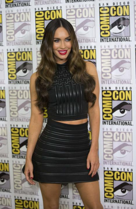 "Cast member Fox poses at a press line for the movie ""Teenage Mutant Ninja Turtles"" during the 2014 Comic-Con International Convention in San Diego"