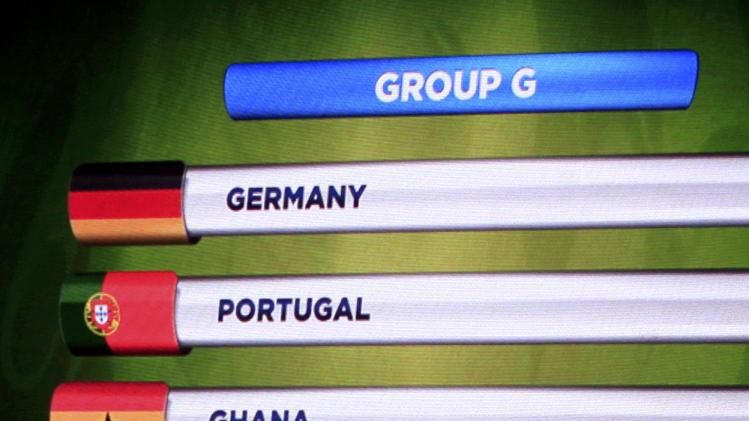 The teams in Group G for the 2014 World Cup finals are shown on the screen after the draw was made at the Costa do Sauipe resort in Sao Joao da Mata