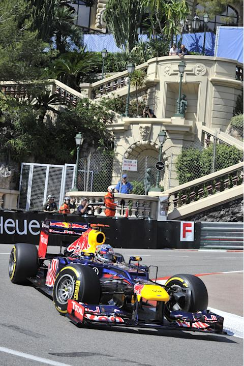 Red Bull Racing's German driver Sebastian Vettel drives during first practice session at the Circuit de Monaco on May 24, 2012 in Monte Carlo ahead of the Monaco Formula One Grand Prix.     AFP PHOTO