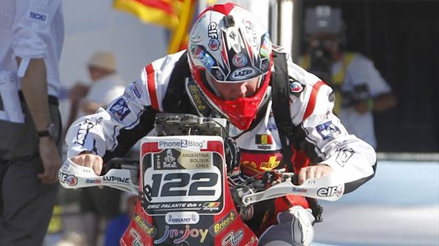 Eric Palante Belgium's Eric Palante powers his Honda from the podium during the departure ceremony of the sixth South American edition of the Dakar Rally 2014 in Rosario January 4, 2014. Palante has died after crashing his bike in the sixth stage Reuters