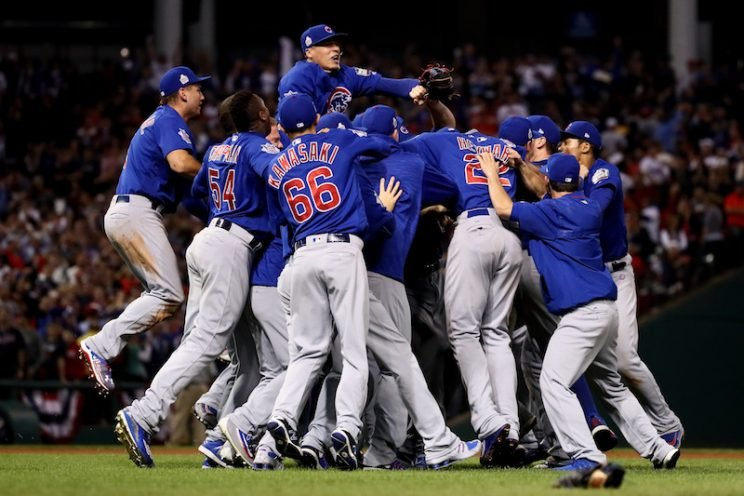 The Chicago Cubs celebrate after winning Game 7 of the Major League Baseball World Series against the Cleveland Indians on Nov. 3, 2016, in Cleveland. Photo from Ezra Shaw/Getty Images