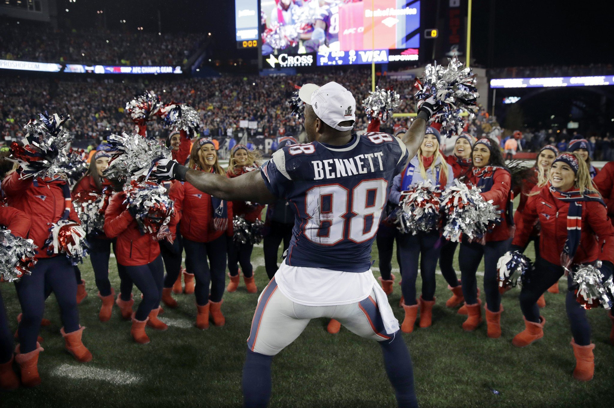 Patriots' TE Martellus Bennett was the life of the party after the team stamped its ticket to Super Bowl LI. (AP)