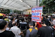 A rally in Singapore today to call for an immigration slowdown. The peaceful rally, held at an officially designated protest zone, was staged by a civic group after the government said foreigners could account for nearly half of the densely packed island's population in less than 20 years
