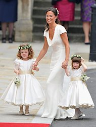 Maid of honor Pippa Middleton wore white to the ceremony. (Pascal Le Segretain/Getty Images)