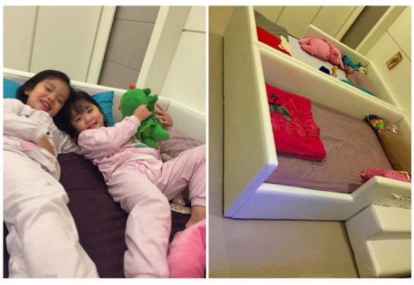 床緣都是防撞軟墊,讓小孩睡覺可以盡情伸展翻身。